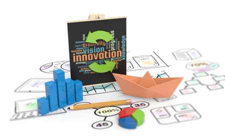 Innovation of development and vision of economic planning with business sketches Stockfoto