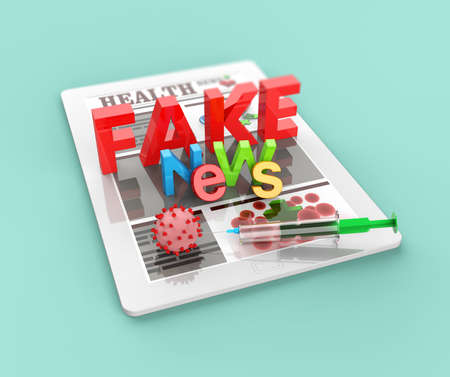vaccination computer tablet with fake news 3D render