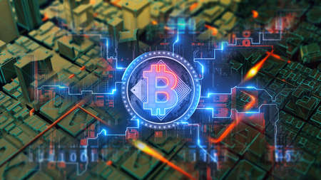 Decentralized cryptocurrency Bitcoin blockchain symbol digital encryption network on circuit board