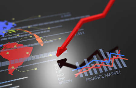 Economic and financial crisis rising inflation and debt background