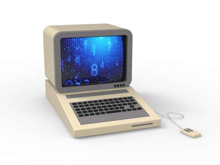 Retro PC computer desktop device concept 3D
