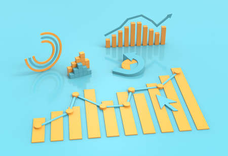 Economy and business charts, price growth and banking 3D financial report design background