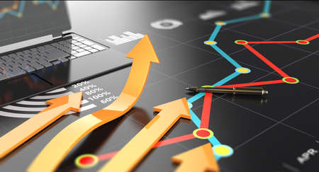 Financial report accounting, business economic growth wih arrow symbol