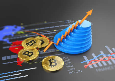 Cryptocurrency Bitcoin and financial banking market with a growing virtual currency
