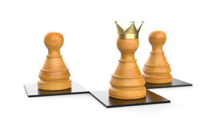 Chess pawn as king of the leader in chess game 3D symbol