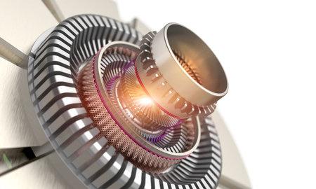 Gear mechanical part of a laser turbine background design