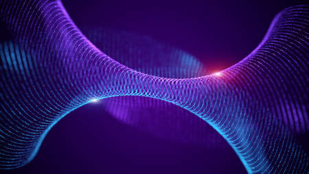 Abstract fractal cyberspace waves mesh grid particles. Swirl curves blurred universe background. Stockfoto