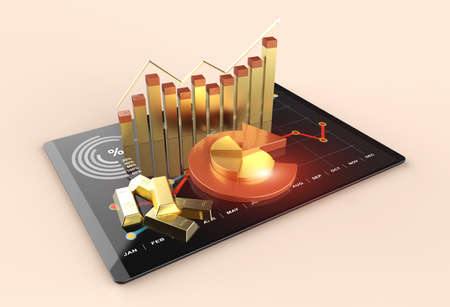 Gold bars with graph financial chart market background
