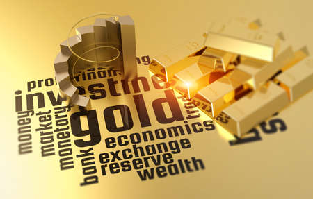 Gold bars financial commodity with business stock chart.