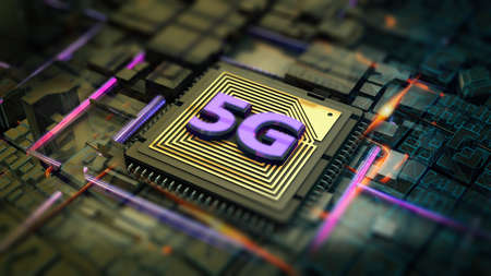 5G network wireless systems and internet of things 3D background