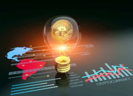 Crypto art golden Bitcoin futuristic lighbulb cryptography abstract 3D background