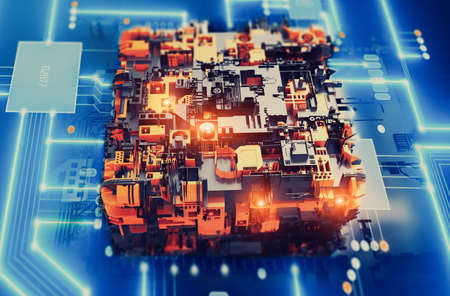 Processor development and research artificial intelligence (AI) computing of smart digital data information technology production CPU process 3D concept