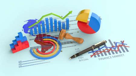 Financial report analysis, business economic growth wih arrow symbol Imagens