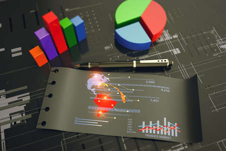 Global stock market analysis. Business growth, planing and strategy concept on black background