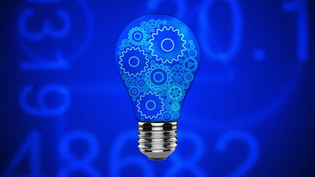 Lightbulb with gears glowing in blue style of cyberpunk. Technological idea, innovation, research and development. Idea abstract background.