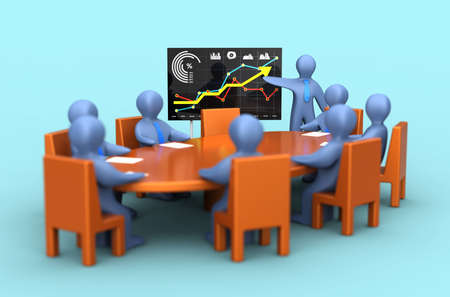Coaching mentor training coworkers in the office, learning marketing, market analysis, business strategy and teamwork 3D render