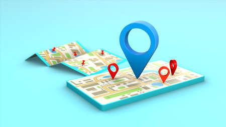 Smartphone locator mark of map city and location pin or navigation icon symbol search travel 3D concept abstract background.