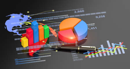 Financial report accounting, business planning, stock market economic analysis and investment 3D background