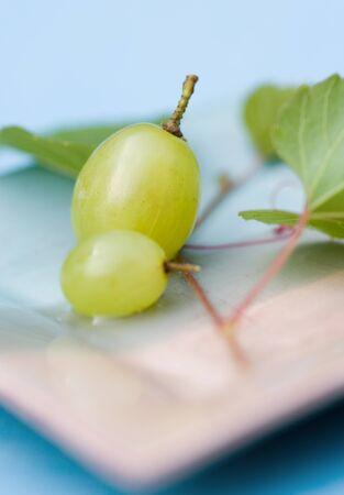 Beautyfull yelow grape on kitchen table