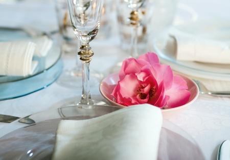 Dinner set in restaurant with beautyfull flower