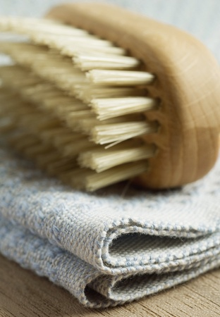 bristle: Bath brush used for back cleaning, extreme close-up