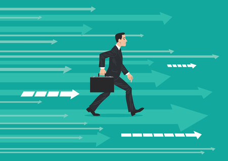 Businessman in dark suit and briefcase walking, stepping forward, on an abstract background indicating a direction of progress.