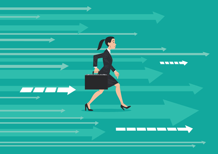 Businesswoman in dark suit and briefcase walking, stepping forward, on an abstract background indicating the direction of progress. Vector illustration, cartoon style.
