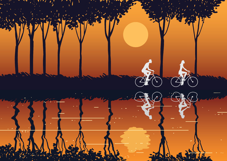 Image of a couple riding a bike in the countryside at sunset. Vector illustration.
