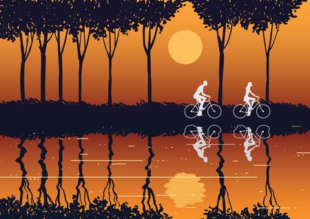 Imagen de una pareja en bicicleta en el campo al atardecer. Ilustración vectorial. Ilustración de vector