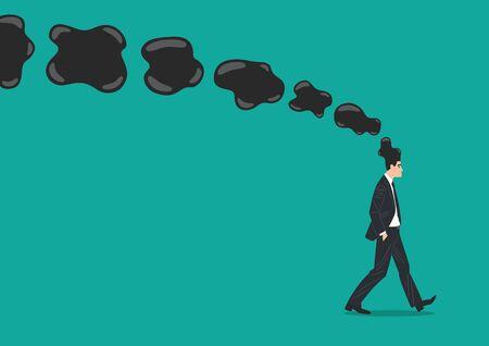 Vector illustration of a businessman walking with worried appearance Ilustração