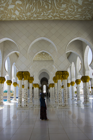 ABU DHABI, UAE-SEPTEMBER 1, 2015: General view of Sheikh Zayed Mosque. Editorial