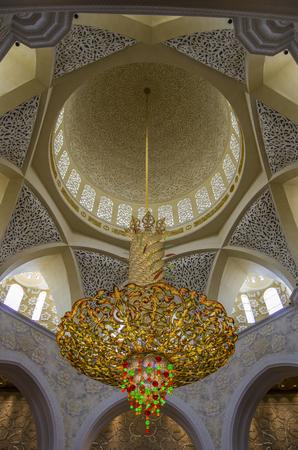 ABU DHABI, UAE-SEPTEMBER 1, 2015: General view of Sheikh Zayed Mosque interior.
