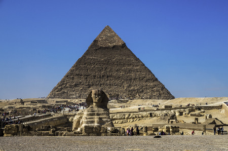 CAIRO-DECEMBER 4, 2015: local Egyptians tourists are the majority at the Pyramids as foreign tourism dropped drastically.