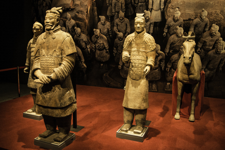 Doha, QATAR - DECEMBER 25, 2016: Xian warriors at the Museum of Islamic Arts (MIA) In Doha, the capital of Qatar in the Gulf Area.