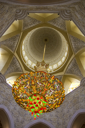 ABU DHABI, UAE-SEPTEMBER 1, 2015: General view of Sheikh Zayed Mosque interior.