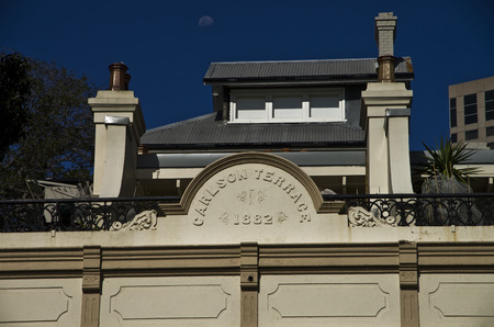 Old house rebuilt into a modern house Modern chimney with clay pots in the CBD Sydney Central Business District
