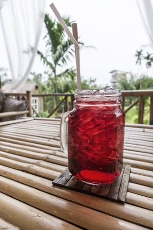 Red cocktail for relax time in Thai Spa Stock Photo