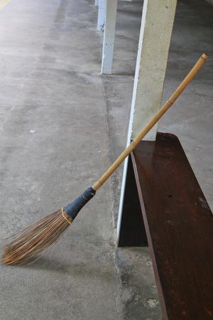 broom: Broom and coconut palms