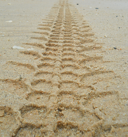 tread: The tread On the surface of the sand. Stock Photo