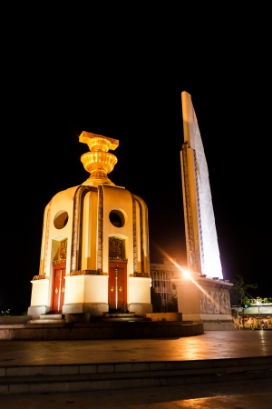 Democracy monument at night in Bangkok Thailand