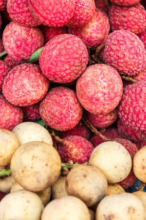 Longkong and Lychee  are the thai tropical fruit. it taste sweet and sour Stock Photo