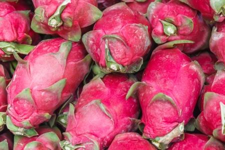 Pile of exotic dragon fruit at Asian market