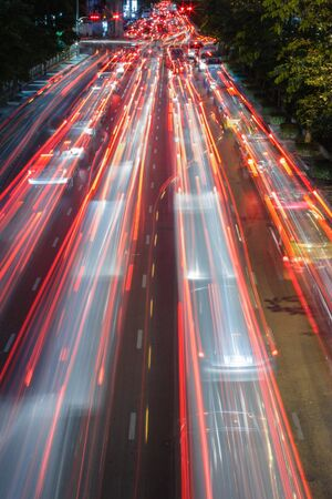 Night traffic lights in Bangkok, Thailand