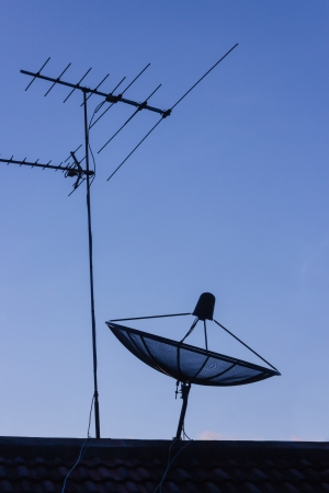Television antenna and Satellite dish with blue sky