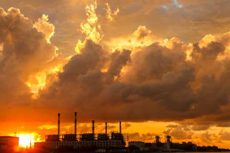 electric power station: Electric power station at sunrise