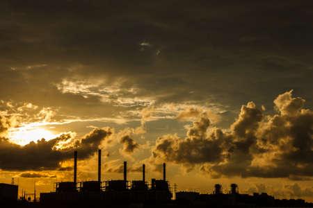 Electric power station at sunrise photo