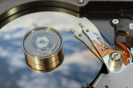 Hard disk drive with spinning platter Stock Photo