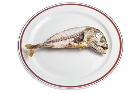 Steamed mackerel fish that are reviewed half-length on the plate, Isolated with clipping path Stock Photo