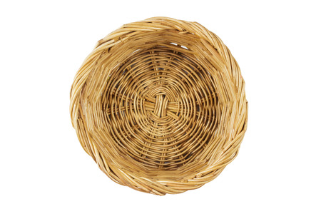 Brown wicker basket top view isolated with clipping path