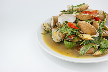 Thai food, surf clam stir with chili paste and herb, Large depth of field Stock Photo